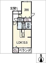 PURIUS若田[2階]の間取り