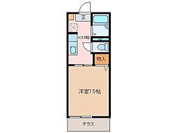 三重県松阪市五反田町2丁目の賃貸アパートの間取り