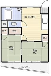 横山コーポ[401号室]の間取り