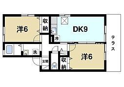 スターブル西大寺[1階]の間取り