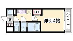 エスリード神戸兵庫駅マリーナスクエア 9階1Kの間取り