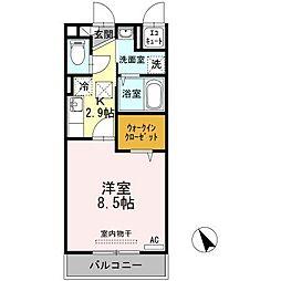 仙台市地下鉄東西線 国際センター駅 徒歩10分の賃貸アパート 2階1Kの間取り