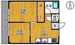 岡アパート[3号室]の間取り
