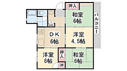 公社清和台住宅団地11号棟[302号室]の間取り