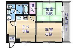 パ-クサイドマンションSAOMOTO[3階]の間取り
