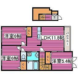 JR学園都市線 石狩当別駅 徒歩15分の賃貸アパート 2階3LDKの間取り