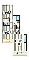アルファタウン天王台D[2階]の間取り