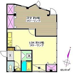 アルファタウンII[3B号室]の間取り