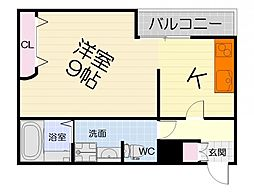 JR阪和線 北信太駅 徒歩11分の賃貸アパート 1階1Kの間取り