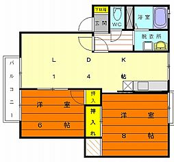 ヴィラコリーナ[1階]の間取り