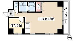 第3フクマルビル 4階1LDKの間取り