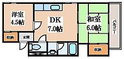 すみれプラザ長堂 5階2DKの間取り
