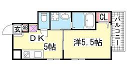 兵庫県神戸市中央区東雲通4丁目の賃貸アパートの間取り