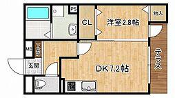 阪神本線 青木駅 徒歩3分の賃貸アパート 1階1DKの間取り