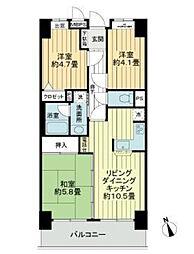 ライオンズマンション下総中山第3[11F号室]の間取り