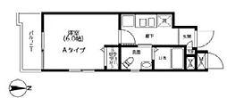 井門コーポ品川御殿山 3階1Kの間取り