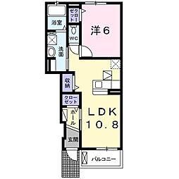 高松琴平電気鉄道琴平線 空港通り駅 徒歩7分の賃貸アパート 1階1LDKの間取り
