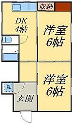 京成本線 堀切菖蒲園駅 徒歩13分の賃貸アパート 1階2Kの間取り