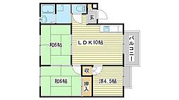 兵庫県姫路市香寺町広瀬の賃貸アパートの間取り