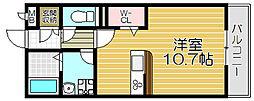 京阪本線 古川橋駅 徒歩15分の賃貸アパート 2階ワンルームの間取り