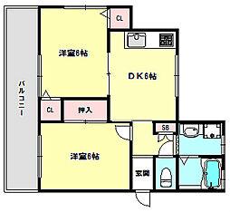 兵庫県神戸市須磨区潮見台町5丁目の賃貸マンションの間取り