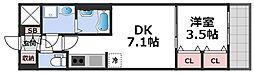 レオンコンフォート天王寺東 9階1DKの間取り