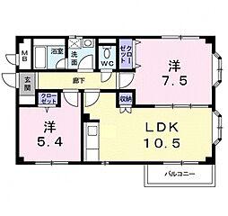 アーバンハウス1号館 2階2LDKの間取り