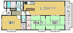 大阪府吹田市岸部中5丁目の賃貸マンションの間取り