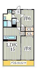 コーポラスMASUDA2番館[1階]の間取り