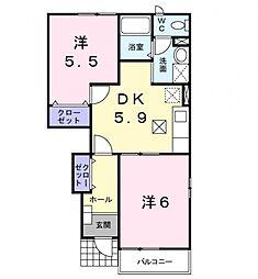 埼玉県熊谷市妻沼東2丁目の賃貸アパートの間取り