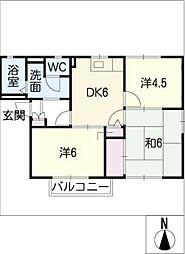 グリーンフラッツB棟[1階]の間取り
