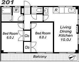 エクセル西国立[2階]の間取り