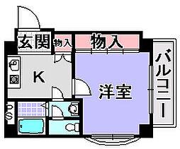 エスポワール鶴山台[410号室]の間取り