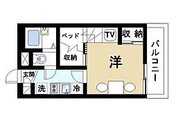 奈良県大和郡山市長安寺町の賃貸アパートの間取り