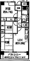 JR片町線(学研都市線) 忍ヶ丘駅 徒歩10分の賃貸マンション 2階3LDKの間取り