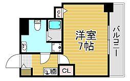 阪神本線 福島駅 徒歩4分の賃貸マンション 5階1Kの間取り