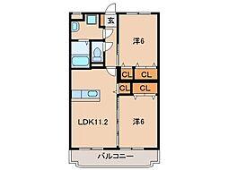 JR和歌山線 布施屋駅 徒歩2分の賃貸マンション 2階2LDKの間取り