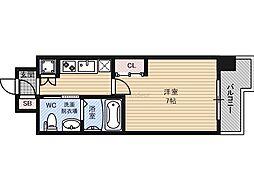 ファーストフィオーレ京橋パークフロント 7階1Kの間取り