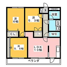 Green Court Kasama 壱番館[3階]の間取り