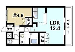 奈良県奈良市宝来町の賃貸マンションの間取り