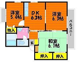 岡山県倉敷市沖新町丁目なしの賃貸アパートの間取り