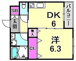 スクーデリア西宮 3階1DKの間取り