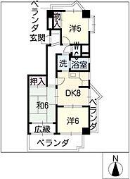 ロイヤル杁中[4階]の間取り