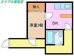 三重県桑名市新築町の賃貸アパートの間取り