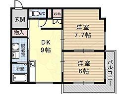 藤沢台樋口マンション 2階2DKの間取り
