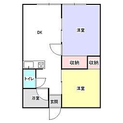 リバーサイド天川B 1階2DKの間取り