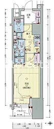 プレサンス北浜レガーロ 15階1Kの間取り