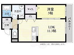 DS上土室 2階1LDKの間取り