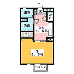 セジュール當水 A棟[2階]の間取り