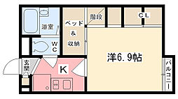 兵庫県姫路市飾磨区今在家北3丁目の賃貸アパートの間取り